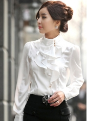 Ruffles Embellished Long Sleeve White Shirt