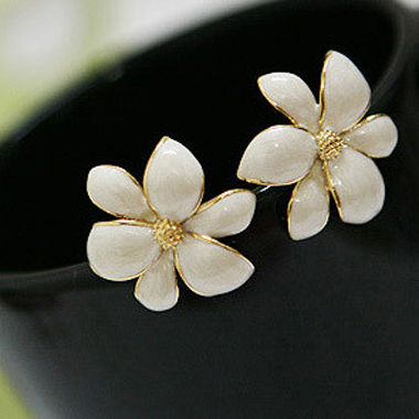 Graceful White Bauhinia Ear Stud for Office Lady