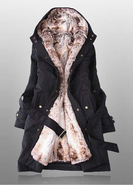 Hooded Collar Zipper Fly Black Fleece Coat