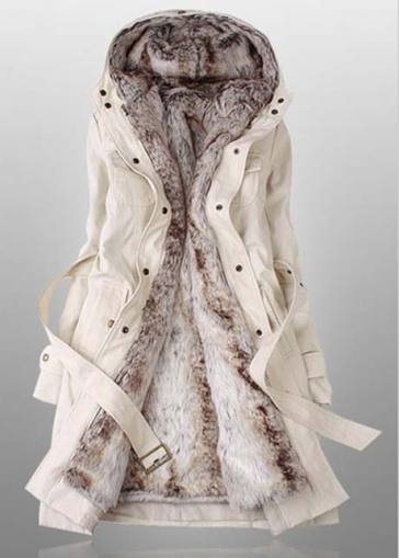 Long Sleeve Cotton Padded Hooded Beige Coat