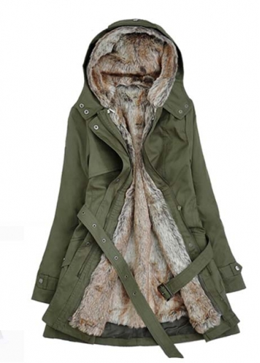 Army Green Long Sleeve Parka Coat