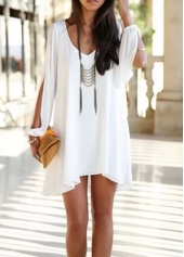 Solid White V Neck White Chiffon Dress