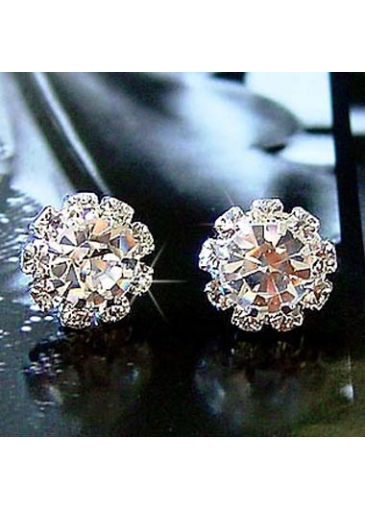 Alluring Woman Rhinestone Binding Gemstone Sunflower Ear Stud