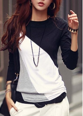 Long Sleeve Multi Color Block T Shirt
