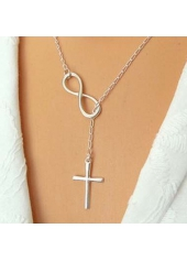Cross Decoration Woman Necklace for Party Silver