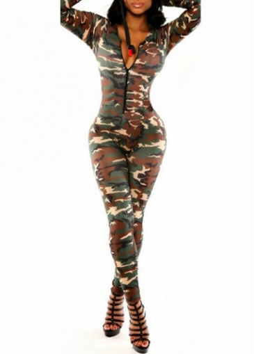 Front Zipper Design Camouflag Printed Jumpsuit