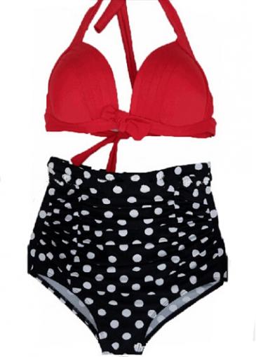 Red Bra and Polka Dot Print Panties Set