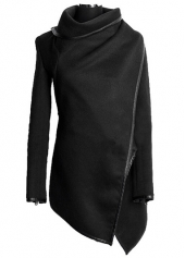 Zip Decoration Long Sleeve Black Coat