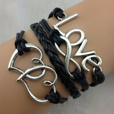 Love Infinity Decor Black Braided Bracelet Rotita