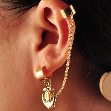 Chain Decor Gold Anchor Cuff Earrings