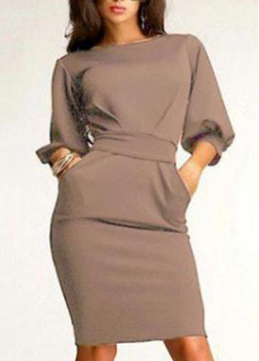Apricot Round Neck Lantern Sleeve Sheath Dress