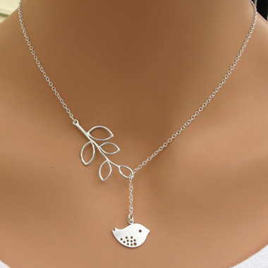 Silver Sterling Bird Pendant Leaves Lariat NecklaceNecklaces &amp; Pendants<br><br><br>color: Silver<br>size: Length: 55cm