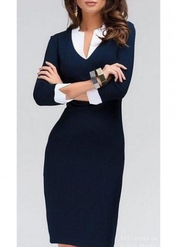 Navy Blue V Neck Sheath Dress