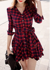 V Neck Button Closure Plaid Flared Skater Dress