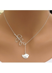 Silver Sterling Bird Pendant Leaves Lariat Necklace