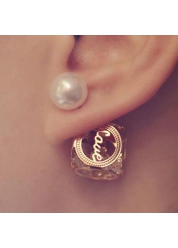 Hollow Cube Love Zircon Pearl Gold Earrings