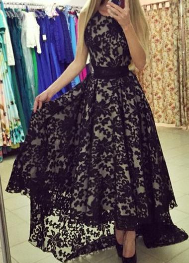Sleeveless Lace Black Belted Maxi DressLace Dresses<br><br><br>color: Black<br>size: S,M,L,XL
