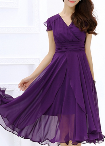 Deep Purple Cap Sleeve Layered Chiffon Dress