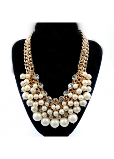 Buy online Layered Faux Pearl Embellished Necklace for Party