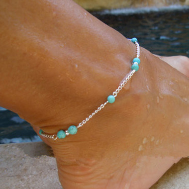Blue Bead Embellished Silver Metal AnkletAnklets<br><br><br>color: Silver<br>size: Length: 22-27cm