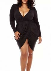 Long Sleeve Deep V Neck Black Asymmetric Dress