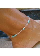 Blue Bead Embellished Silver Metal Anklet