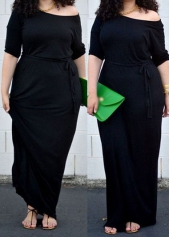 Plus Size Round Neck Belted Maxi Dress