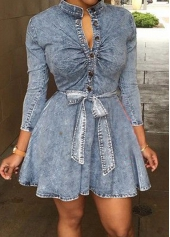 Stand Collar Button Closure Denim Dress