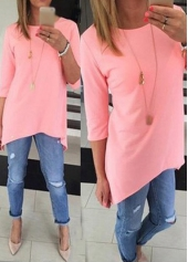 Round Neck Asymmetric Pink Long T Shirt