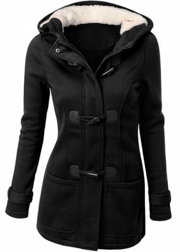 Pocket Design Single Breasted Hooded Collar Coat