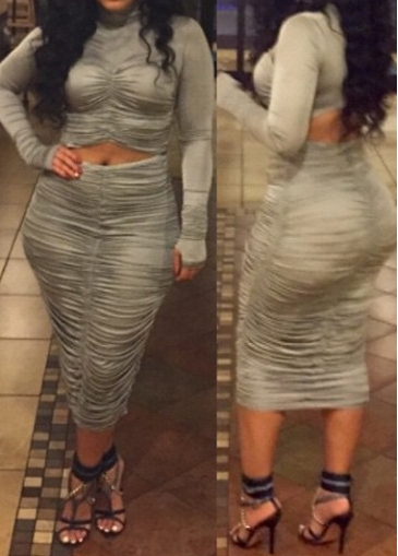Buy online Grey Ruched Crop Top and Mid Calf Skirt