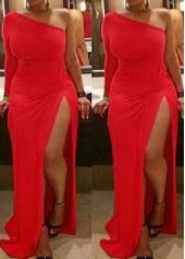 Red One Shouder Side Slit Maxi Dress