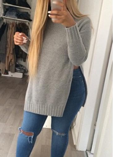 Grey Round Neck Side Slit Sweater
