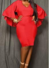 Red Cloak Design High Wasit Sheath Dress