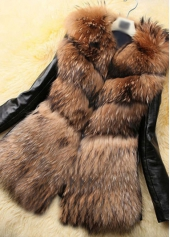 Brown Faux Fur PU Patchwork Coat