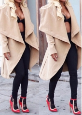 Khaki Long Sleeve Turndown Collar Coat