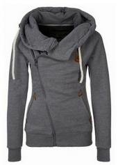 Dark Grey Pocket Design Hooded Sweats