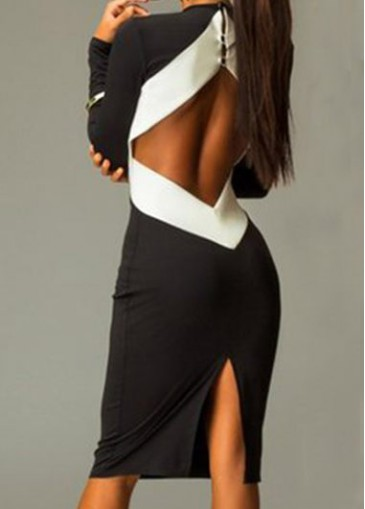 Black Back Slit Knee Length Dress