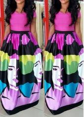 Short Sleeve High Waist Character Print Dress