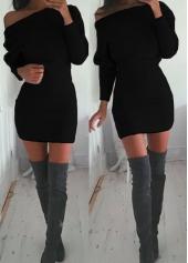 Long Sleeve Skew Neck Black Sheath Dress
