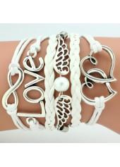 Silver Metal Heart and Wing Embellished Bracelet
