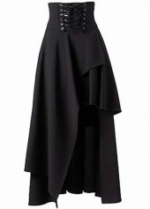 Black Asymmetric Hem High Waist Skirt
