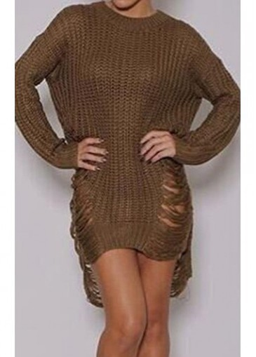 Khaki Long Sleeve Asymmetric Sweater Dress