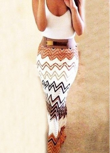 High Waist Chevron Print Maxi Skirt