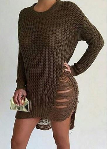 Image of Army Green Long Sleeve Tearing Mini Dress