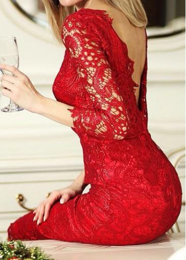 Red Lace V Back Knee Length Dress