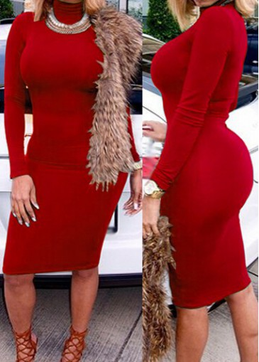 Long Sleeve Solid Red Sheath Dress