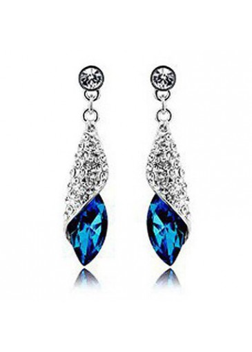Blue Rhinestone Decorated Silver Metal Earrings