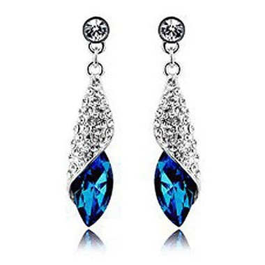 Blue Rhinestone Decorated Silver Metal EarringsEarrings<br><br><br>color: Blue<br>size: Length: 3.7cm