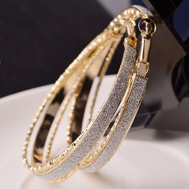 Daily Casual Gold Metal Circle EarringsEarrings<br><br><br>color: Gold<br>size: Diameter: 5.5cm